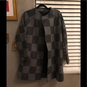 Ann Taylor Grey Black Checker swing coat size S